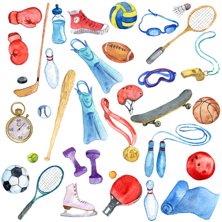 Watercolor sport doodle set on white background.