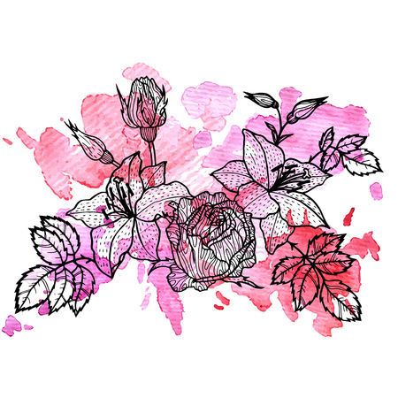A vintage vector floral composition at pink watercolor background, isolated element in Victorian style, flowers, buds and leaves of roses, hand drawn illustration 일러스트