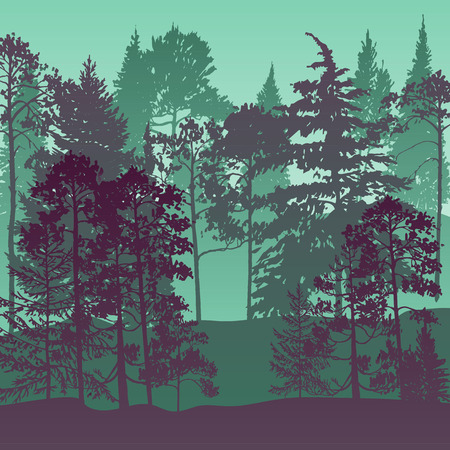 vector landscape with pine and fir trees, abstract nature background, forest template, hand drawn illustration Stock Illustratie
