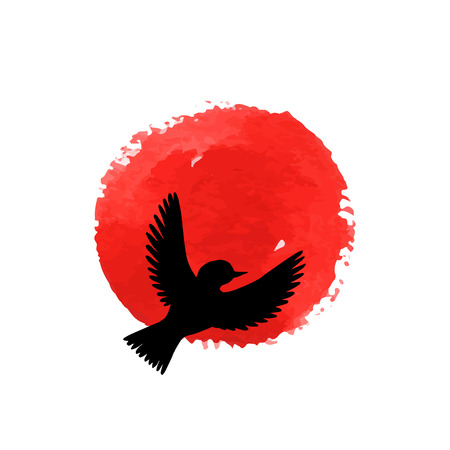 flying bird silhouette at red watercolor background, hand drawn songbird and sun