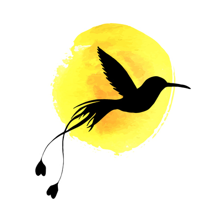 Flying bird silhouette at yellow watercolor background, hand drawn songbird and sun.
