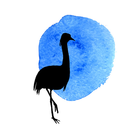 flamingo in grass silhouette, wild bird in natural environment, isolated vector element