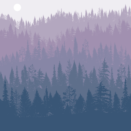 vector landscape with pine trees Vettoriali