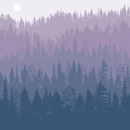 vector landschap met pijnbomen Vector Illustratie