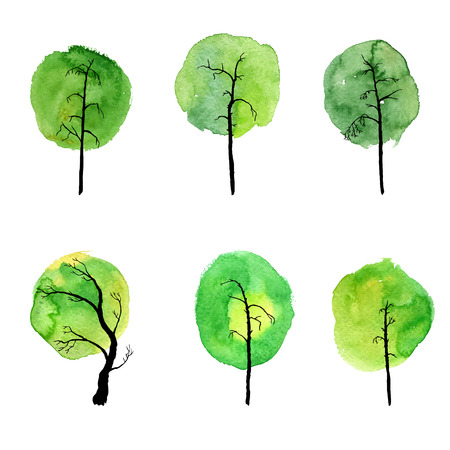 vector set of deciduous trees with watercolor foliage, hand drawn isolated natural elements
