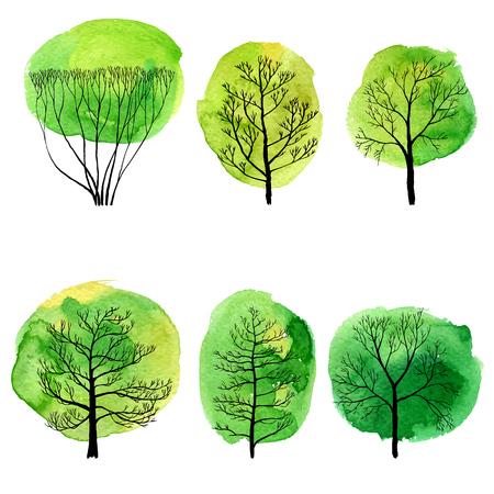 vector set of deciduous trees