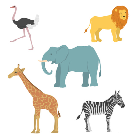 vector cartoon african animals Illustration