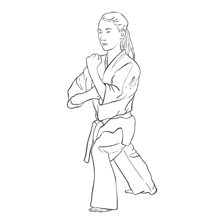 young karate girl, hand drawn vector illustration