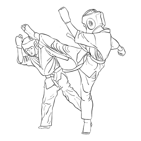 karate fight of two boys