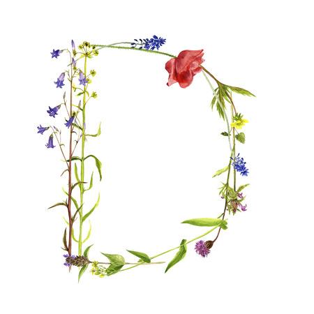 floral watercolor letter D