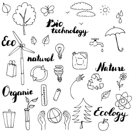 Ökologie Vektor Doodle Set, handgezeichnete Abbildung Vektorgrafik