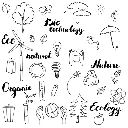 ecology vector doodle set, hand drawn illustration