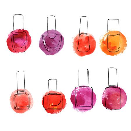 Vector bottles of nail polish, hand drawn illustration