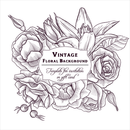 Vintage vector floral frame in victorian style with flowers, hand drawn design template Illustration