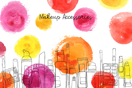 vector layout with makeup accessories and watercolor spots, hand drawn illustration