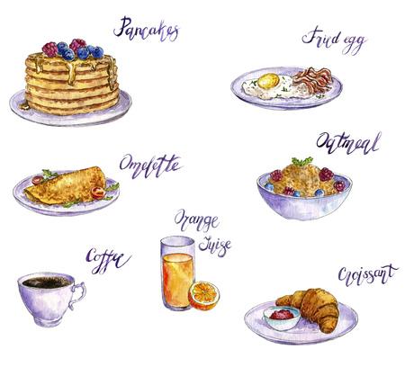 watercolor drawing breakfast