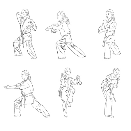 young karate girl set vector