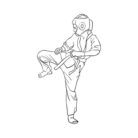 Young karate boy kicking 일러스트