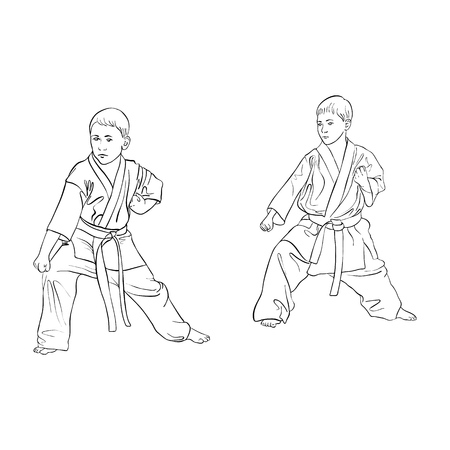 Two young karate boys