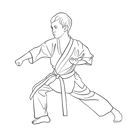 Young karate boy