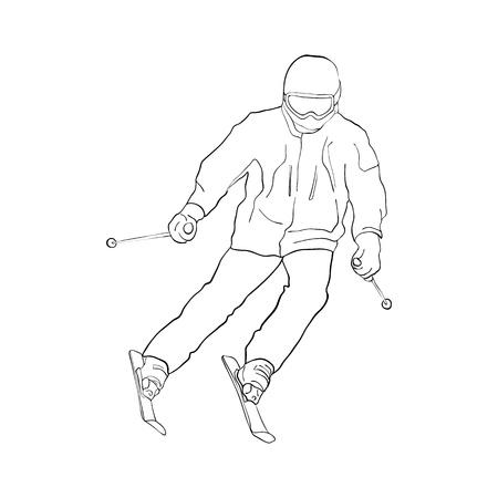 Vector skiing man Stock Illustratie