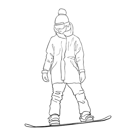 Vector drawing snowboarder illustration on white background.