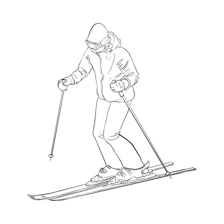 Vector skiing man illustration