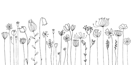 Background with drawing herbs and flowers Vector illustration. Vettoriali