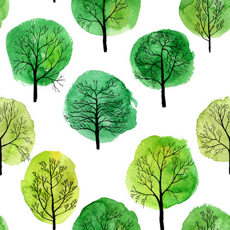 Deciduous trees with water color spots design Illustration