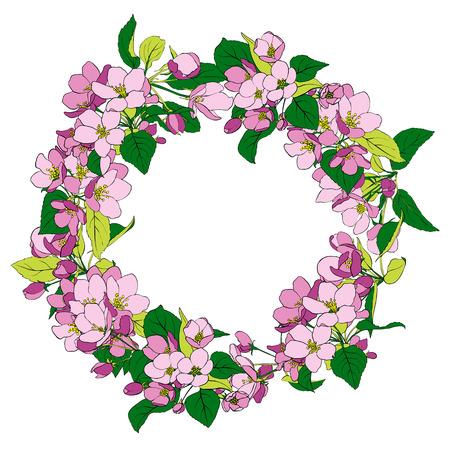 Marco redondo con diseño de flores.