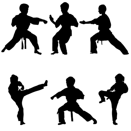 Young karate boys silhouette set