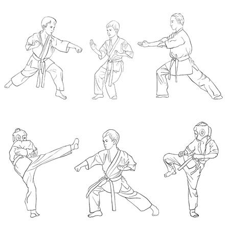 Young karate boys set