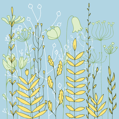 Vector background with doodle abstract herbs and flowers, floral template