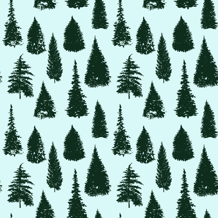 Vector seamless pattern with fir trees