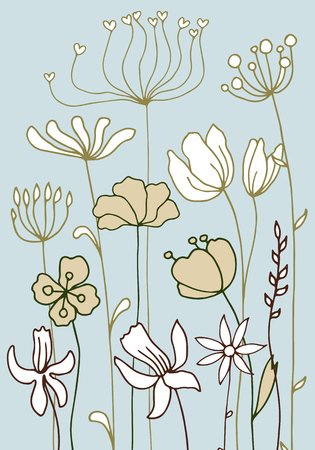 Background with drawing herbs and flowers Vettoriali