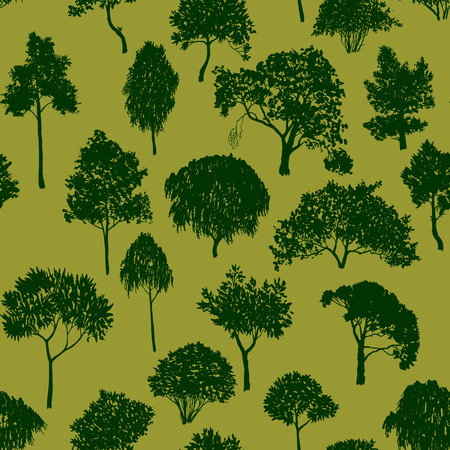 vector seamless pattern with of deciduous trees, hand drawn natural background  イラスト・ベクター素材