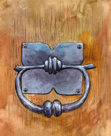 door knob drawing by watercolor