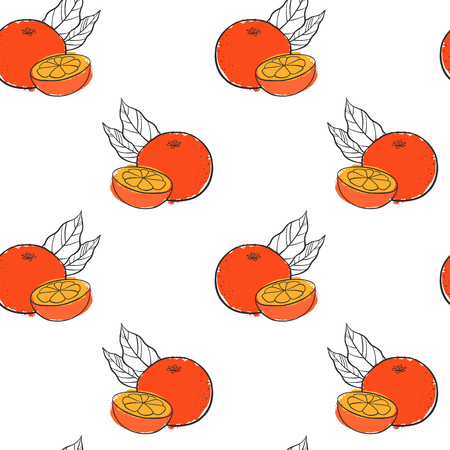 vector seamless pattern with orange
