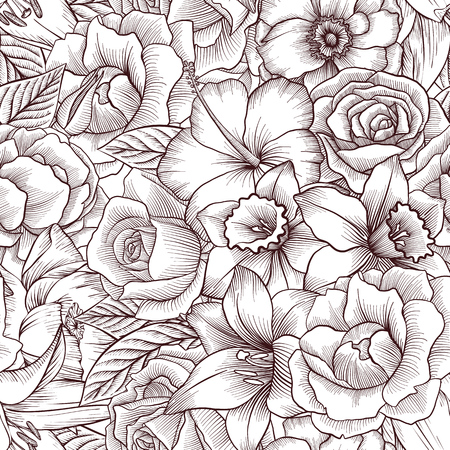 vintage vector floral seamless pattern template