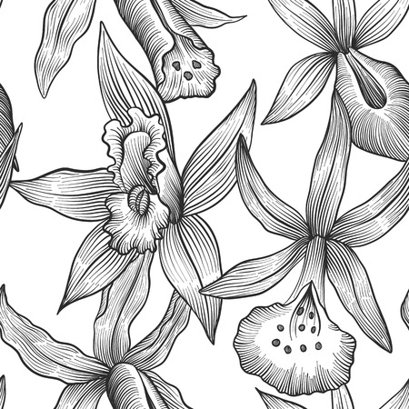 vintage vector floral seamless pattern with orchids flowers, imitation of engraving, hand drawn background