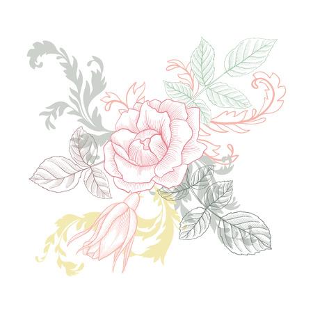 vintage  floral composition Vector illustration.