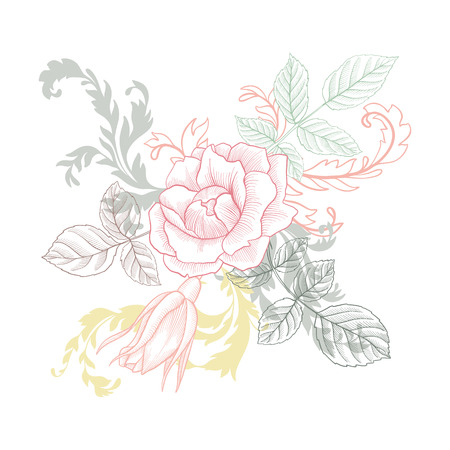 vintage  floral composition Vector illustration.