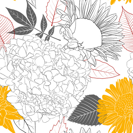 Vector seamless pattern with flowers and leaves illustration.