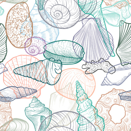 Vector seamless pattern with drawing sea shells, hand drawn illustration, ocean background. Vettoriali