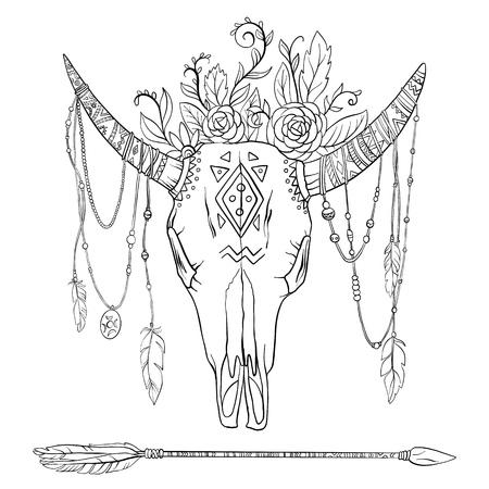 drawing ornate skull of cow Vettoriali