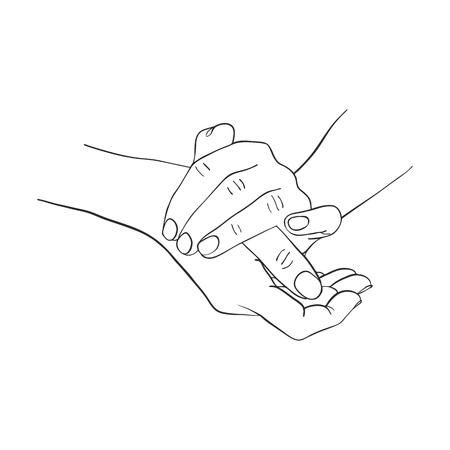 Weibliche Hände, die Creme, Federzeichnungspalmen, Hand gezeichnete Vektorillustration auftragen