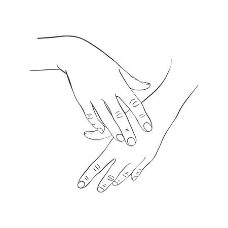 Weibliche Hände, die Creme, Federzeichnungspalmen, Hand gezeichnete Vektorillustration auftragen Vektorgrafik