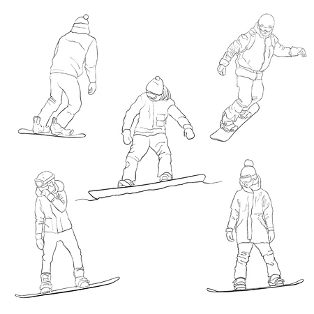 vector drawing snowboarders, linear sketch of winter sportsmen, hand drawn illustration