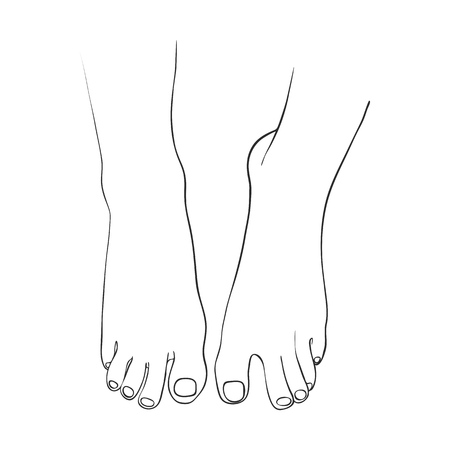 hand drawn women foot