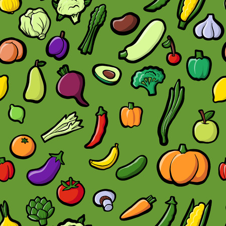 vector seamless pattern with drawing vegetables